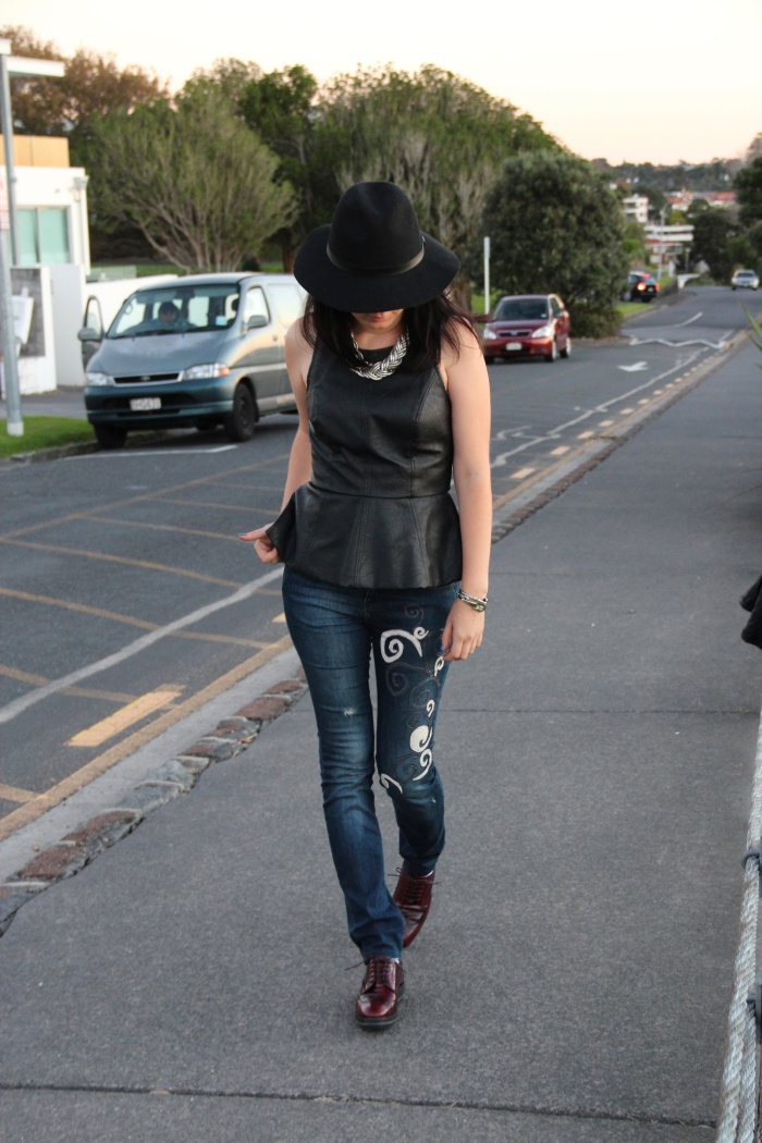 hat and DIY jeans