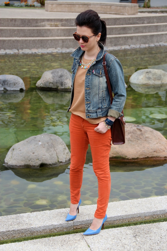 orange jeans