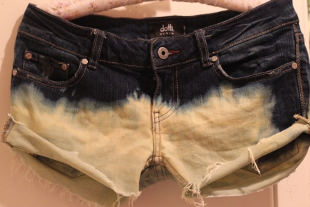 denim bleached shorts