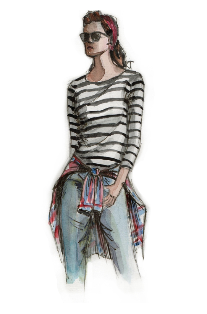 lavenderloafers, fashion blogger, sketch, picture, girl, striped top, jeans,
