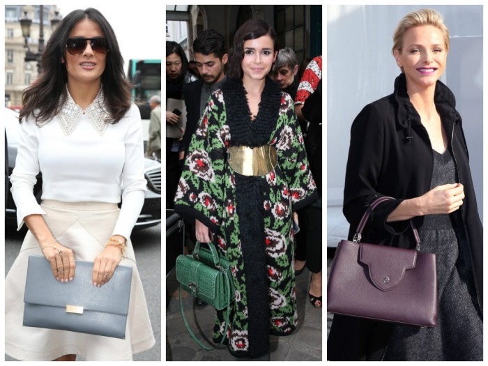 Princess Charlene of Monaco with Louis Vuitton Capucines Bag, Mira Duma with Paula Cademartori Faye Satchel, Salma Hayek with Stella mcCartney Faux Napa Flap Clutch, paris fashion week, lavender loafers, fashion blogger, bags, celebrities,