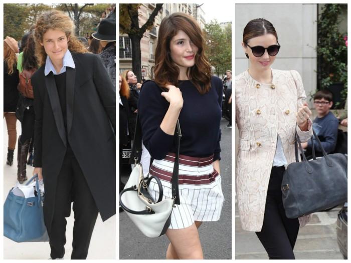 Miranda Kerr with Balmain x Aurelie Bidermann Pierre Bag, Gemma Aterton with Chloe Baylee Satchel, Ginevra Ellkan with Hermes Birkin, paris fashion week, lavender loafers, fashion blogger, bags, celebrities,