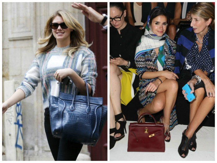 Kate Upton with Celine Luggage Tote, Mira Duma with Hermes Kelly Bag, paris fashion week, lavender loafers, fashion blogger, bags, celebrities,