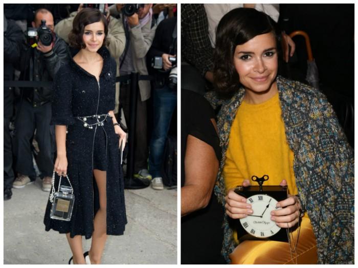 Mira Duma at Paris Fashion Week, Chanel N5 Perfume clutch, Charlotte Olympia Timepiece box