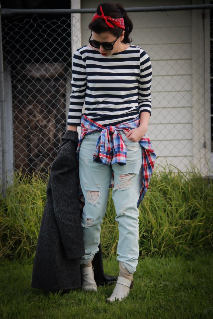 Pinup, lavenderloafers, blogger, fashion, ripped destroyed jeans, red scarf, cowboy boots, checked shirt, grunge, coat