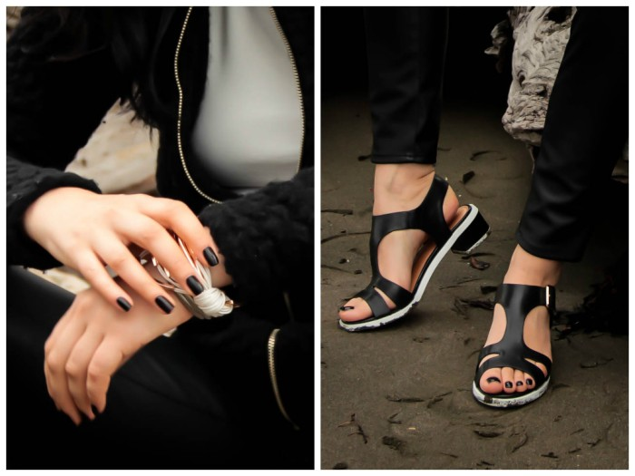 lavender-loafers-fashion-blogger-black-leather-pants-sandals-black-and-white-nail-polish-opi-overland-country-road-riddlemethis-kookai-chanel-lipstick-pirate99