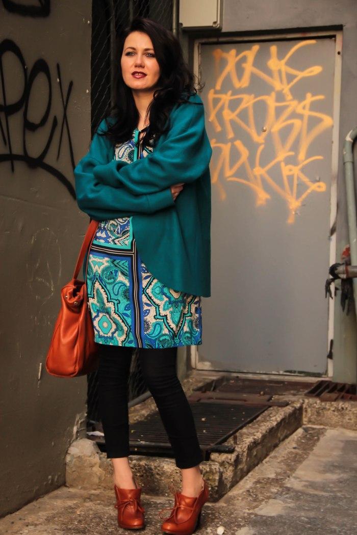 lavender-loafers-blue-emerald-color-jacket-fashion-blogger-straight-dress-pattern-patterned-dress-opi-nail-polish-new-zealand-auckland-orange-shoes-bag-black-denim-skinny-jeans