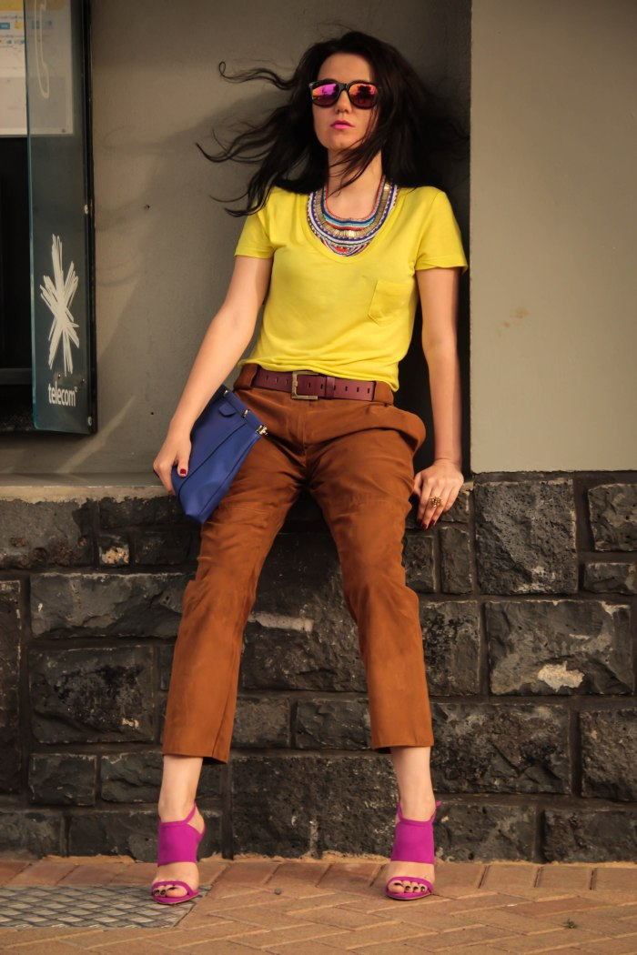 lavender-loafers-fashion-blogger-statement-necklace-lime-yellow-tee-shirt-brown-suede-pants-colorblock-electro-blue-clatch