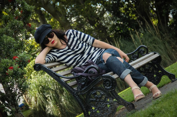 lavender-loafers-stripped-jeans-nude-shoes-cap-black