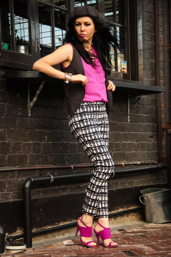 lavender-loafers-hat-cape-magenta-silk-top-blouse-checked-pants-vest-new-zealand-auckland-blogger-fashion