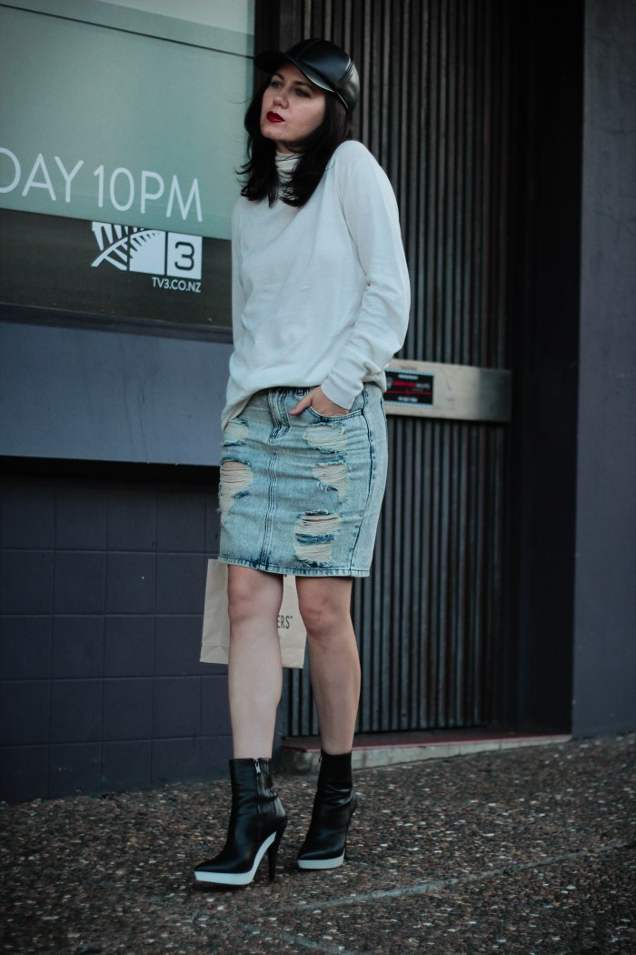 stella maccartney_ripped_skirt_denim_leather_cap